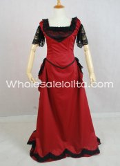 Gothic Black and Red Cotton Lace Sleeves Victorian Bustle Dress