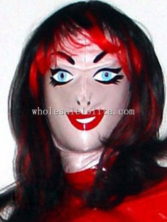 Latex Halloween Costume Gummi Hood Maske Smile Face Red Lip