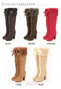 Sweet Rabbit Fur 10.5cm Chunky Heel Princess Lolita Knee Boots