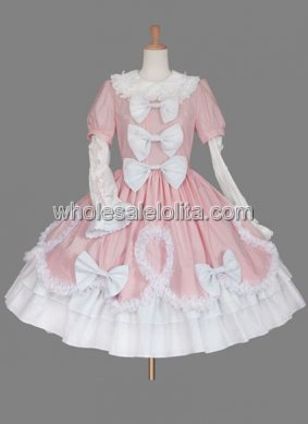 Pink and White Bow Cotton Sweet Lolita Dress