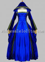 Gothic Blue Pleuche and Silk-like Euro Court Princess Dress Witch Costume