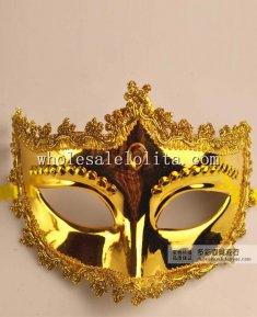 Half Face Venetian Masquerade Mask with Braiding and Rhinestone for Adult and Child