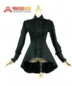 Romantic Victorian Edwardian Gothic Steampunk Clothing Punk Ruffle Women Black Witch Blouse Top Shirt