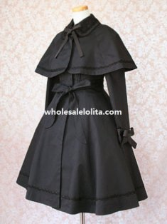 Black Cotton Lolita Jacket with Detachable Cape