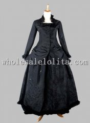 Two Piece Gothic Black Thai Silk Victorian 1870/90s Bustle Dress