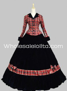 Civil War Gown Period Dress Navy Blue Velvet Reenactment Theatre Clothing
