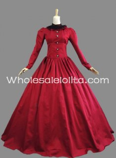 Burgundy Long Sleeves Cotton Gothic Victorian Dress Theatrical Costume