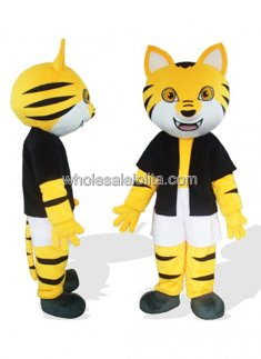 Orange Tiger In Black Underwaist Plush Mascot Costume