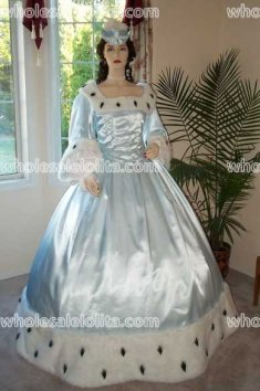 Civil War Gown Ice Blue Satin Trimmed with Faux Ermine Fur