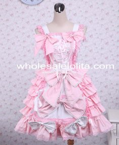 Pink Sleeveless Bow Ruffle Cotton Lolita Dress