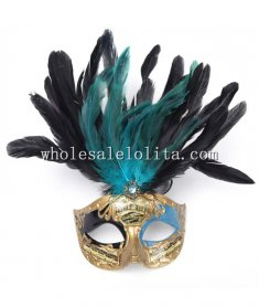 Beautiful Cosplay Gold Masquerade Mask with Center Diamond and Feather