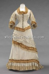 Natural Form 1878-1880 Victorian Bustle Dinner Dress Boidice & Skirt