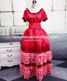 Dark Red Satin Cotton Sweet Lolita Dress