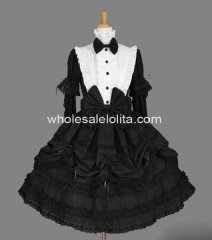 Beautiful Black and White Ruffled Cotton Sweet Lolita Dress