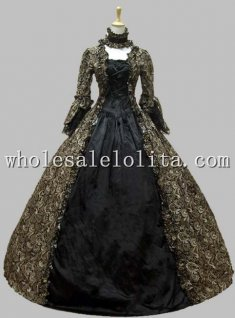 Georgian Victorian Gothic Period Dress Masquerade Ball Gown Reenactment Theatre Costume Brown