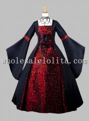 Gothic Black and Dark Red Print Kimono Sleeves Victorian Era Dress