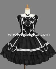Black and White Crossing Strap Gothic Lolita Dress Costume