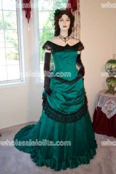 CUSTOM Green Satin Victorian Ball Gown Vintage Dress Victorian Evening Gown