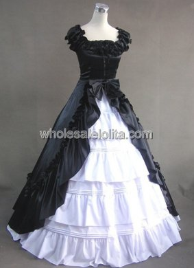 Gothic Black and White Victorian Civil War Southern Belle Gown Dress