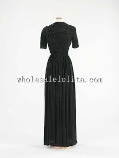 Custom Made Spring/Summer 1938 French Black Silk Evening Dress