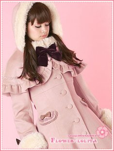 Hot Sale Pink Wool Hooded Sweet Lolita Coat