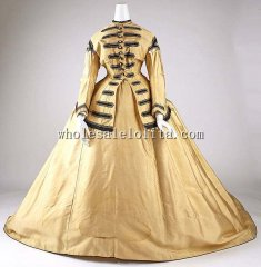 Custom Made 1860-65 Silk American Civil War Victorian Day Dress