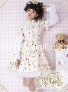 Sweet Light Yellow Printing Bubble Skirt Cotton OP Lolita Dress