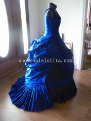 19th Century Blue Victorian Steampunk Gothic Mardi Gras Venice Wedding Ball Gown Bustle Dress