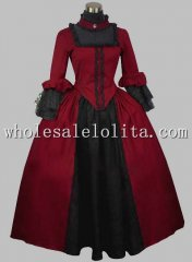 Gothic Black and Wine Red Silk-like British Victorian Era Dress Stage Costume