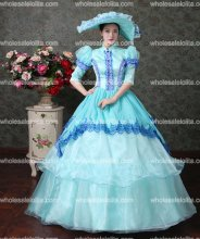 18th Century Sky Blue Lace Vampire Masquerade Ball Dress Civil War Southern Belle Ball Gown