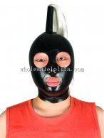 Black Latex Rubber Costume Hood Mask with Pony Tail