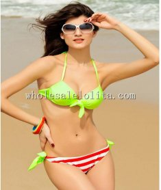 Beach Sexy Fluorescent Green Push Up Bikini Top & Red Stripes Bottom