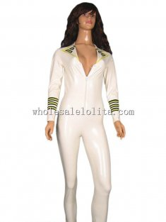 White Female Navy Latex Uniform Front Zipper