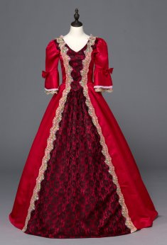 Red Southern Belle Ball Gown Dress Reenactment Clothing Medieval Marie Antoinette Princess Costume