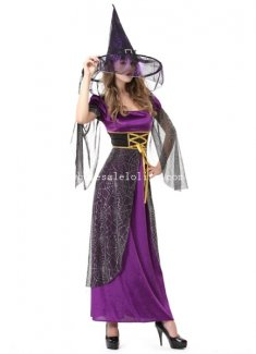 2014 Halloween Witch Cosplay Costume Purple Fancy Party Dress