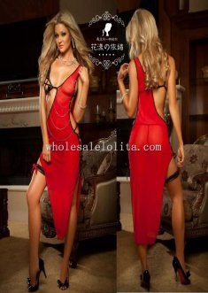 Sexy Red Chemise Half Open Stringed Long Dress and Leg Garter
