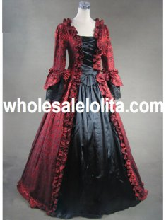 Wine Red an Black Marie Antoinette Masked Ball Gothic Victorian Dress
