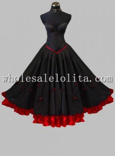 2 Pieces Strapless Corset Tops Black and Red Gothic Princess Dress