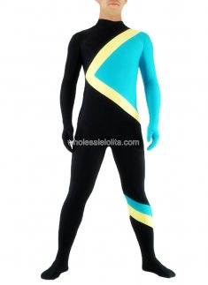Blue And Black Skater Lycra Spandex Zentai Suit