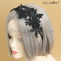 Black Lace Gothic Headband Masquerade Accessories