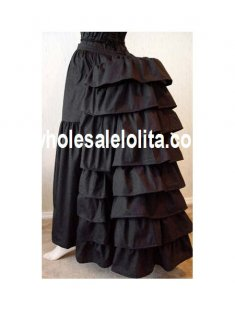 Black/White Cotton Victorian Bustle Skirt