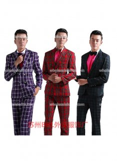 Mens Red/Purple/Green Prince Palace Grid Suits Mens Costume