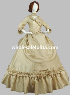19th Century Champagne Victorian French Bustle and Swag Period Dress Reenactment Theatre Clothing
