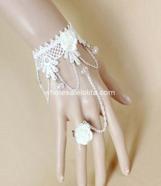 Royal Court Pure White Lace & Crystal Bride Bracelet and Ring