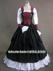 Renaissance Pirate Wench Costume Steampunk Period Dress Ball Gown Reenactment Clothing