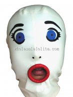 100% Handmade White Latex Rubber Hood Mask Blue Eyes Red Lips