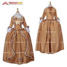 Women's Rococo Medieval Aristocrat Ball Gown Victorian Yellow Dress