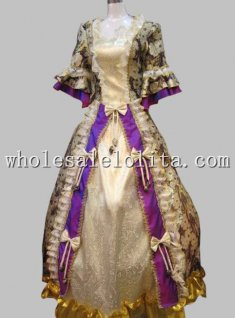 Marie Antoinette Era European Court Stage Costume Floral Printing Celebrity Dress