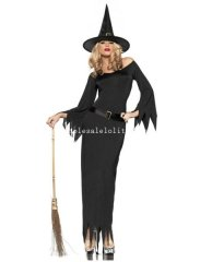 2014 Halloween Fairytale Witch Cosplay Costume Black Long Dress