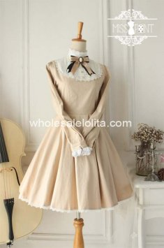 High-end Vintage High Collar Champagne Cotton Classic Lolita Dresse